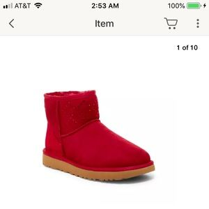 Ugg Oxblood Classic Mini Crystal Suede Boots Sz 6
